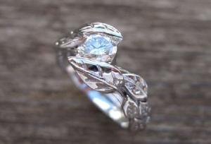 Ben leaf engagement ring