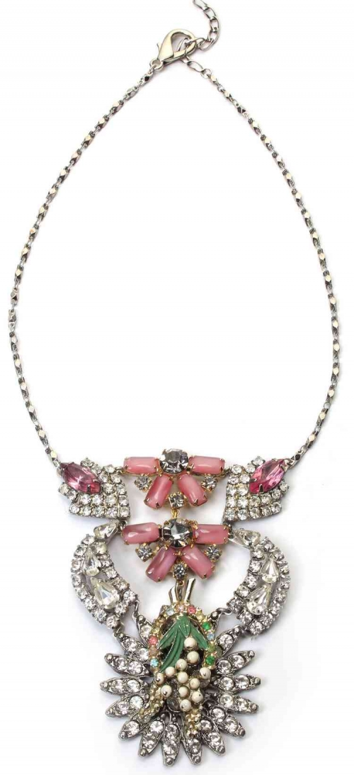 Unique by Galit- Pink Flower vintage Necklace