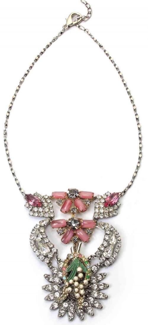 Unique by Galit- Pink Flower vintage Necklace