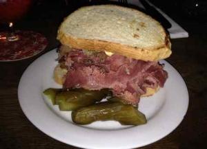 Next Door Bar cornbeef sandwich
