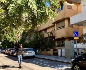 Bialik Street in Tel Aviv-the street skateboarder